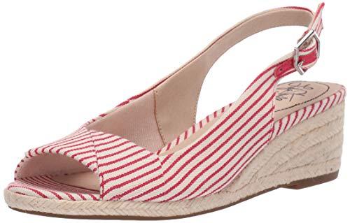 LifeStride Women's Socialite Espadrille Wedge Sandal, Red/White, 7 W US