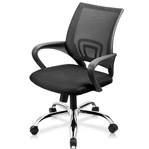 Loywe Bürostuhl Schreibtischstuhl, ergonomischer Drehstuhl mit Netzrücken, Wippfunktion Feste Armlehne höhenverstellbar, Schwaz Chefsessel mit Mesh Netz (Schwarz)