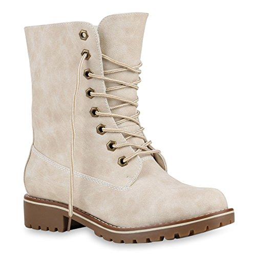 stiefelparadies Damen Schuhe 125213 Stiefeletten Creme Glatt 42 Flandell