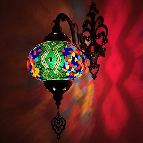 Lámpara De Pared Hecha A Mano Turca Aplique Mosaico Del Estilo De Tiffany Lámpara De Pared De La Lámpara De Noche Marroquí Linterna Decoración Del Hogar Luz De Pasillo Pasillo, 7 Pulgadas,J