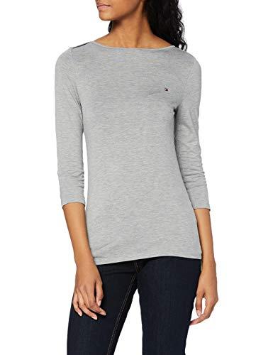 Tommy Hilfiger Boat Neck tee 3/4 Camisa, Light Grey Heather, M para Mujer