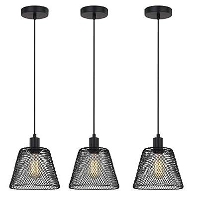 WOXXX Industrial Pendant Lighting E26 E27 Base Vintage Pendant Lights Retro Black Pendant Light Fixture Adjustable Edison Farmhouse Hanging Lamp for Kitchen Island, Restaurants, Hotel and Shops 3 Pack