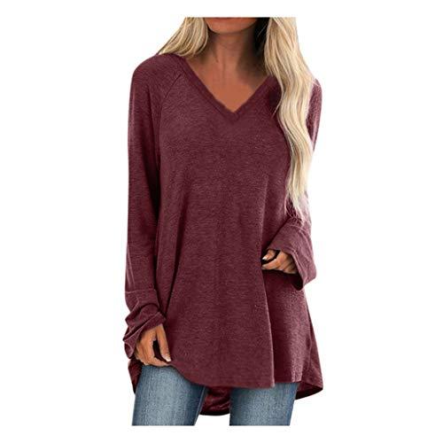GOKOMO Damen Oberteile v-Ausschnitt Langarm Tshirt Bluse t-Shirt Pullover top Oberteil shirtUnregelmäßiger Tops Strickpulli Herbst und Winter Sweatshirt(Wein,X-Large)