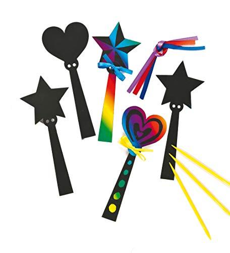 Baker Ross ET590 Ross Kratzbild-Lesezeichen - Zauberstab - scratch art mit Regenbogenfarben für Kinder zum Basteln - 12 Stück
