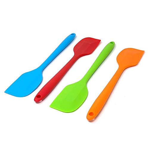 Juego de 4 espatulas silicona cocina | Espatula silicona para hornear en varios colores | Utensilios de cocina de silicona Antiadherente Grandes en Naranja/Azul/Verde/Rojo