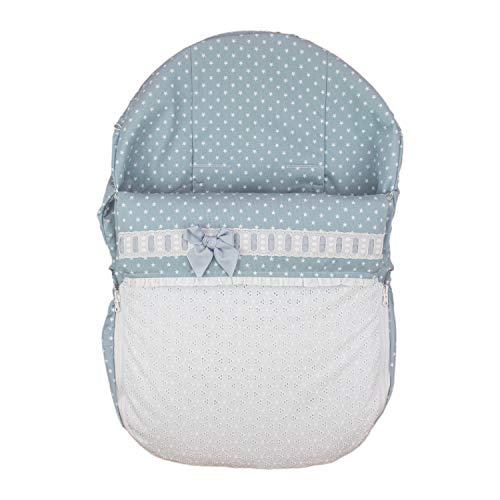 Rosy Fuentes - Saco de Capazo Grupo 0-10 x 50 x 60 cm - Color Azul Empolvado - Poliéster y Algodón - Equipado para ser Ajustado - Reversible - Saco Universal para Silla de Bebé Grupo 0