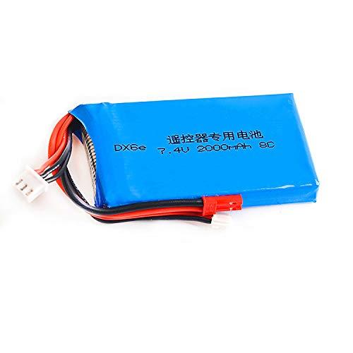 7.4V 2000mAh 8C Rechargeable 2S Lipo Battery for Spektrum dx6e DX6 Transmitter Remote Controller