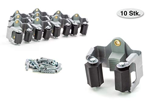 BS Gerätehalter (10er Set) hochwertiger Besenhalter Wandhalterung optimale Aufbewahrung aller Geräte - Gartengerätehalter - Haushaltsgeräte - Werkzeug – Gratis Schrauben und Dübel - Montageanleitung