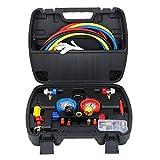 Honhill A/C Kit Juego de 4 Válvulas Manómetros de Adaptador de Presión, Juego de Manómetros de Colector de Aire Acondicionado para R22 R404A R134A R410A