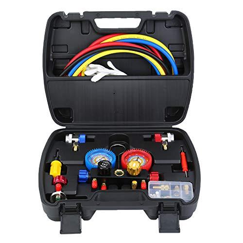 Honhill Klimaanlage Monteurhilfe, A/C Manifold Messgerät Gauge Set, Druckadapter Für R22/R404A/R134A/R410A