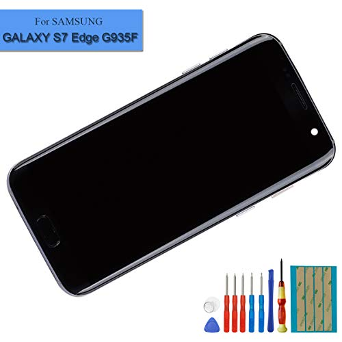 E-yiiviil nieuwe Super Amoled display compatibel met Samsung Galaxy S7 Edge G935F scherm touchscreen beeldscherm digitizer Assembly zwart glas met frame + tools