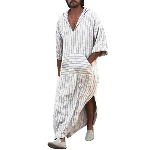 Routinfly Männer lose Shirts, männlichen Langarm-T-Shirt mit Kapuze Vintage Casual Dress Kaftan ethnischen Robe (L, White)