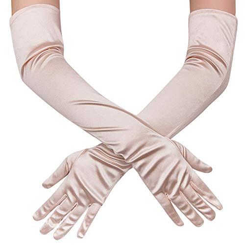 Guante largo negro blanco Guantes de Satén Mujer Vintage Guantes hasta los Codos Novia Accesorios Guantes Largos para Boda Fiesta Accesorios (52cm-champán)