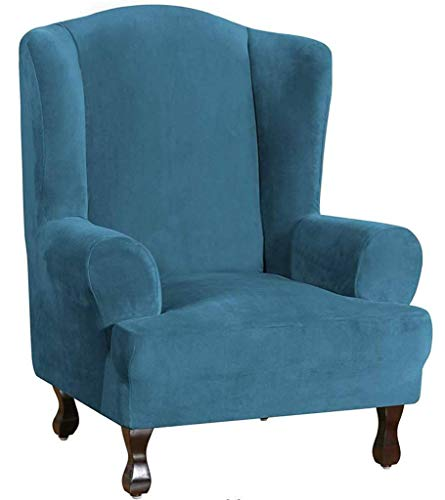 HKPLDE Sesselbezug Samt Schonbezüge Für Sesselbezug Plüsch Sofabezüge 1-Stück Möbelbezug Husse Für Ohrensessel Mit Elastischem Boden-Blau