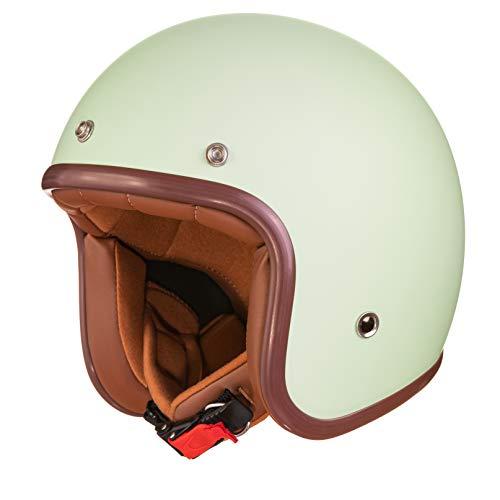 ORIGINAL Fräulein Irmi Retro Vespa-Helm, Jet-Helm mit Sonnen-Visier, Roller-Helm für Frauen und Herren im edlen Vintage-Look, Qualität nach ECE-Norm, mint matt