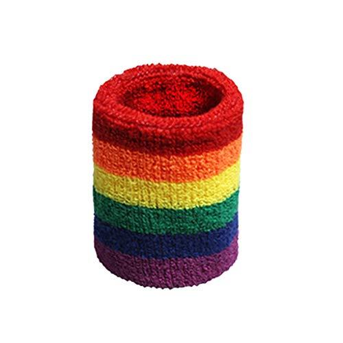 DUESI Mujeres Hombres Deportes muñequeras Toalla Banda para el Sudor arcoíris Rayas de Colores...