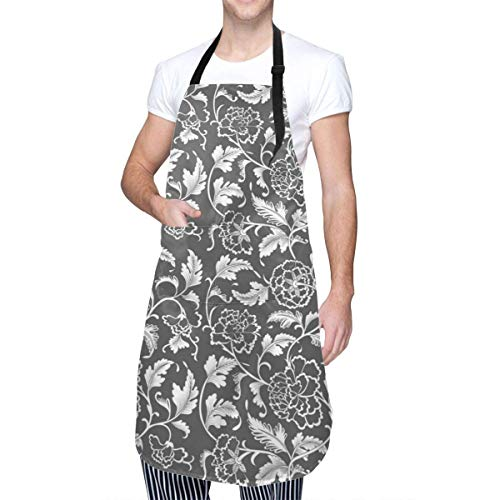 Chinese Ornament Apron Cooking Apron Waterproof Adjustable Kitchen Apron for Baking Gardening