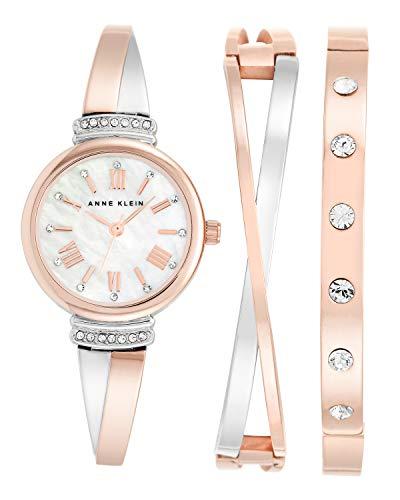 Anne Klein Damen Analog Quarz Uhr mit Edelstahl Armband AK/N2245RTST