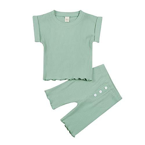 LUCSUN Traje de verano para bebé niña acanalado, color sólido, manga corta, cuello redondo, pantalones largos con botones