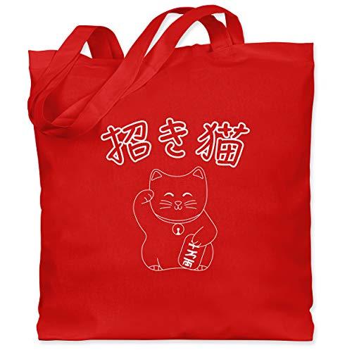 Shirtracer Katzen - Winkekatze- Japanisch - Unisize - Rot - japanisch - WM101 - Stoffbeutel aus Baumwolle Jutebeutel lange Henkel