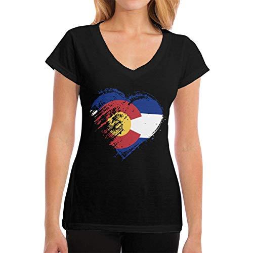 Henrnt Damen T-Shirt, Premium Tee Shirts Grungy I Love Colorado Heart Flag Women's Casual Short Sleeve V-Neck T-Shirts
