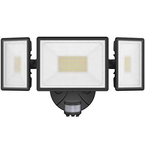 Onforu 80W LED Strahler mit Bewegungsmelder, 7200LM Superhell Außen Fluter, IP65 Wasserdicht PIR Außenstrahler mit 3 Köpfe, 6000K Kaltweiß Sensor Flutlicht Außenleuchte für Garage, Garten, Hof
