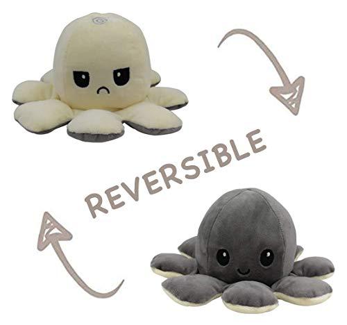 Peluche de Pulpo Reversible-Bonitos Juguetes de Peluche, muñeco de peluche juguetes creativos el Pulpo Reversible Original de Felpa Regalos de Juguete para niños,cumpleaños Navidad (Blanco + G