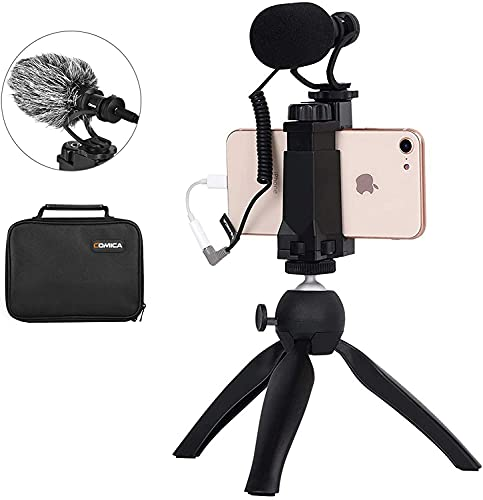 Comica CVM-VM10-K2 Smartphone Microphone with Tripod, Shotgun Video Mic for iPhone and Android Phone, Vlogging Kit for Youtube Recording Facebook Live