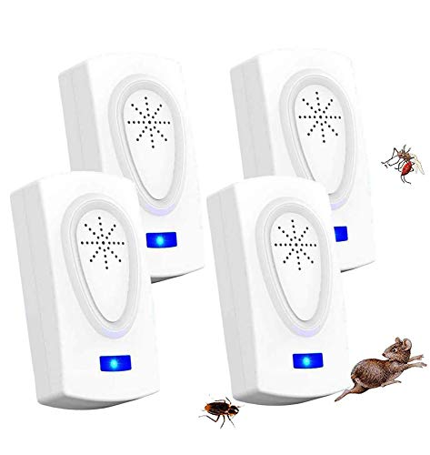 Repelente Ultrasónico de Plagas, Repelente de Insectos Interiores Control de Mosquitos Ratones Hormigas Cucarachas Moscas Arañas Pulgas (4 Piezas)