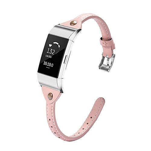 Wearlizer für Fitbit Charge 2 Armband, Leder Ersatzband für Charge 2 Armband (T Rosa)