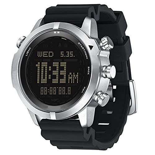 Smartwatch, Deportes Al Aire Libre para Hombres, Impermeable, Reloj Inteligente para Computadora De Buceo, Presión De Altitud, Brújula, Temperatura, Reloj Electrónico,Negro