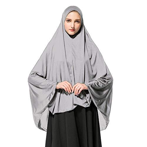 Deloito Damen Kopftuch Muslimischen Gebet Halstuch Lange einfarbig Khimar Tuch Hijab Weich Gemütlich Unter Schal (Grau,Medium)