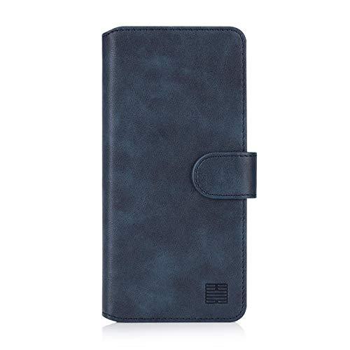 32nd Essential Series 2.0 - PU Leder Mappen Hülle Flip Hülle Cover für Samsung Galaxy A50, A50S und A30S (2019), Ledertasche hüllen mit Magnetverschluss & Kartensteckplatz - Marineblau