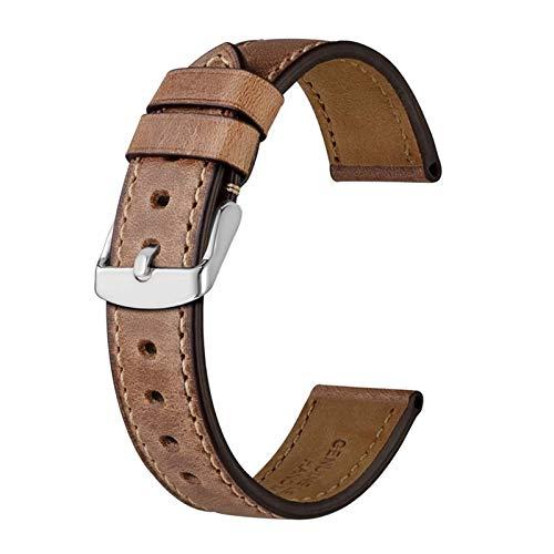 WUTONG Anwendbar oder kompatibel Anbeer Leder Armband 18mm 19mm 20mm 21mm 22mm 23mm 24mm Männer Frauen Schwarz Brauner Horne Lode Calfskin Watch Strap Armband Smart Watch Armband