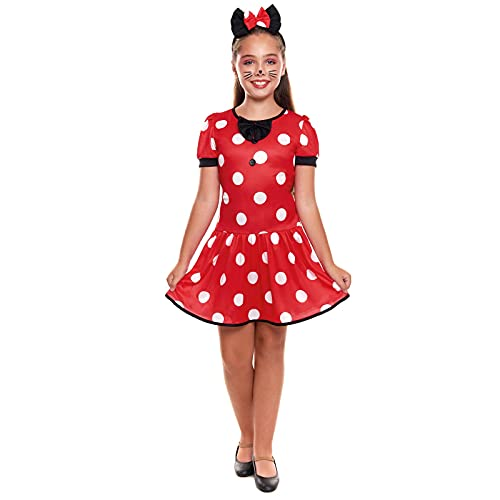 Disfraz Ratita Presumida Niña Ratoncita【Tallas Infantiles 3 a 12 años】[Talla 5-6 años] Vestido Rojo Topos y Orejas Disfraces Cuentos Niños Carnaval Festivales Teatro Actuaciones Desfiles