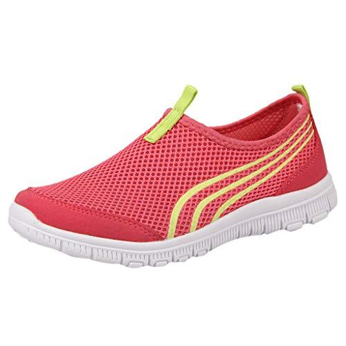 MRULIC Damen Sneaker Flache Stiefel Freizeitschuhe Fitnessschuhe Sport Leichte Laufschuhe Trainer Turnschuhe Atmungsaktive Sportschuhe Lässige Müßiggänger Weiche Schuhe(Wassermelonenrot,38 EU)