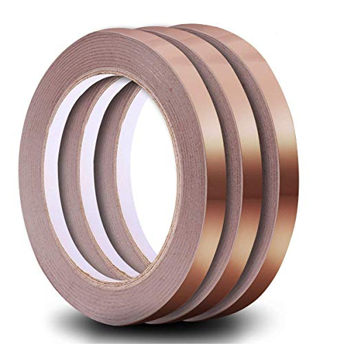 Copper Foil Tape Pack of 3, 1/4 inch, 21.8yard each,Copper Foil Adhesive Tape for Snail Repellent, EMI Shielding, Electrical Repair, Stained Glass, Paper Circuit, Soldering (3pcs 0.25 in by 21.8 yard)