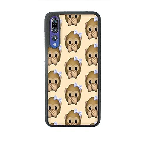 Funda Carcasa compatible con Huawei P20 Pro Whatsapp emoticon de mono pequeño no habla / Vuelos de aluminio con goma en los lados. / TPU antideslizante anti-scratch resistente a los golpes resistente