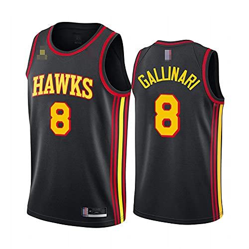 LYY Maglie da Pallacanestro da Uomo, NBA Atlanta Hawks # 8 Danilo Gallinari - T-Shirt Classica Senza Maniche Sport T-Shirt, Uniformi Comfort Tops Sportswear,Nero,XL(180~185CM)
