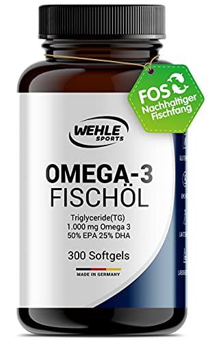 Omega 3 Kapseln hochdosiert Triglyceride Fischöl - Fish Oil Softgel 500mg EPA 250mg DHA ohne Vitamin E Omega-3 Fettsäuren - Aufwendig gereinigt und aus nachhaltigem Fischfang (300 Kapseln)