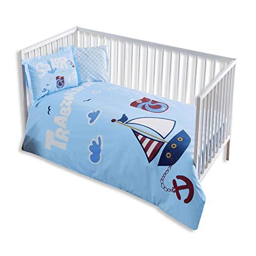 100% Bio-Baumwolle Weich und gesund Baby für Kinderbett, Bettbezug Set 4Stück, Trabzonspor Sailor Offiziell Lizenz-Bettwäsche