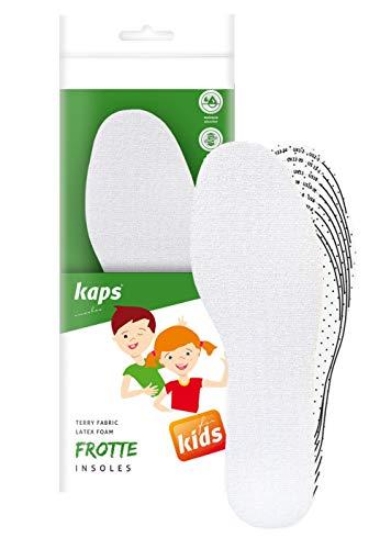 Kaps Frottee Einlegesohlen für Kinder als Zusatzsohlen oder Ersatzsohlen – Stoß- und schweißabsorbierenden Schuheinlagen – Einlagen für Schuhe zum bequemen und passgenauen zuschneiden