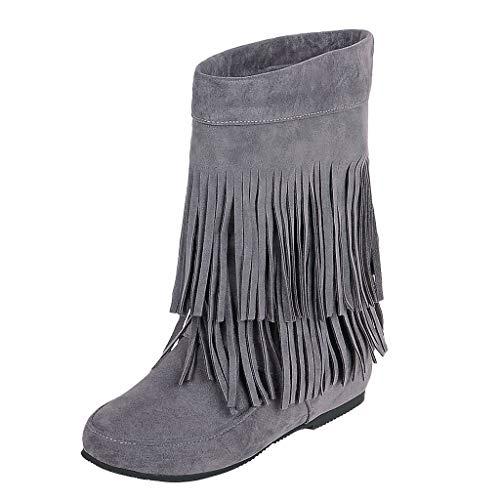 ZODOF Botines cuña para Mujer Otoño Invierno 2019 Moda Botas Militares Planos Zapatos Vestir Talla Grande Señora Calzado Terciopelo Dama Botas de Nieve clásicas Caliente con Fleco(35.5 EU,Gris)