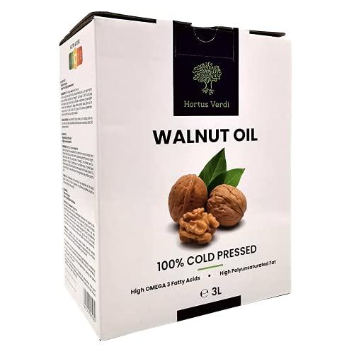 Walnussöl 3 Liter (3000 ml) Hortus Verdi - Kaltgepresst - 100% natürlich - RAW VEGAN - Saucen - Suppen - Glutenfrei - Süßigkeiten - Nachspeisen - Backwaren- Gourmet