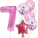 JSJJARF Globos Rosa Conjunto Fiesta de cumpleaños hincha Chica de 32 Pulgadas Número de decoración Hoja hincha 1 2 3 4 5 6 7 8 9 Fuentes de la Ducha del bebé Feliz Cumpleaños (Color : 11pcs Set 7)