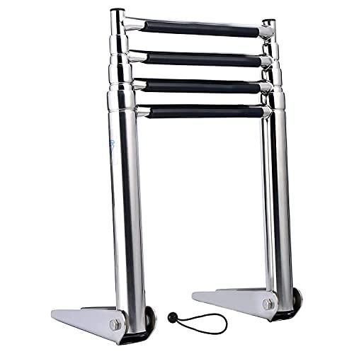 FreeTec 4 Steps Telescoping Ladder, Escalera de Barco Marina
