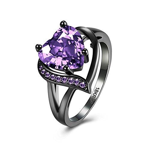 BEMI Romantic 18K Black Gold Plated Promise Band Ring Wedding Purple Heart Cubic Zirconia Rings for Women 8