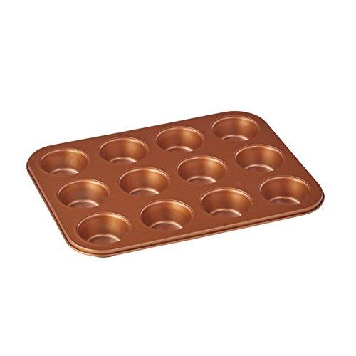 axentia Muffin Backblech, Kuchenform, Backform, Platz für 12 Muffins, hohe Antihafteigenschaft, aus Karbonstahlblech, ca. 0,4 kg, ca. 35 x 26,5 x 3cm