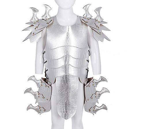FXQ Cosplay Rüstung PU Leder Rüstung Kinder Hübsche Leder Drachen Rüstung Samurai Cosplay Rüstung Kostüm Cosplay - für Hallween Carnival,Weiß