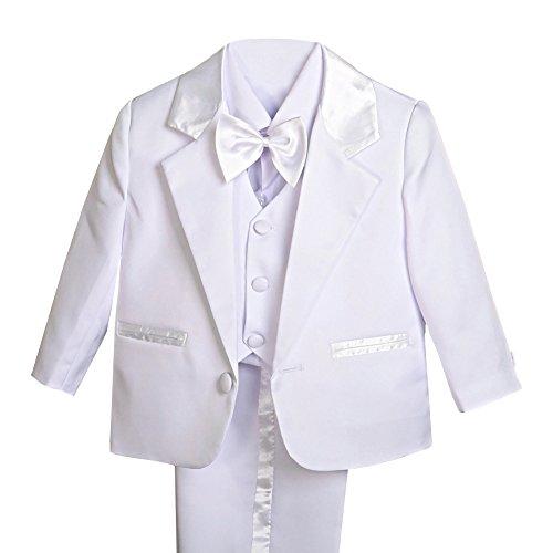 Lito Angels - Trajes para Bebe niño de Vestir Elegante Blanco, Conjunto de 5 Piezas de Traje Formal para Boda, Bautizo, Fiesta, Ceremonia y ocasión Especial, Tamaño 6 a 9 Meses